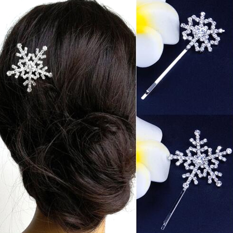 Hair-Clip Snowflake Barrettes Bridal-Hairpin Rhinestone Crystal Elsa Women for Winter