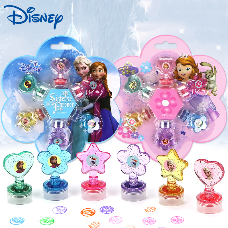 6 Pcs/lot Cartoon Girls Frozen Anna Elsa Seal Toy Disney Seal Teacher Encourages Prize Children's Inkpad