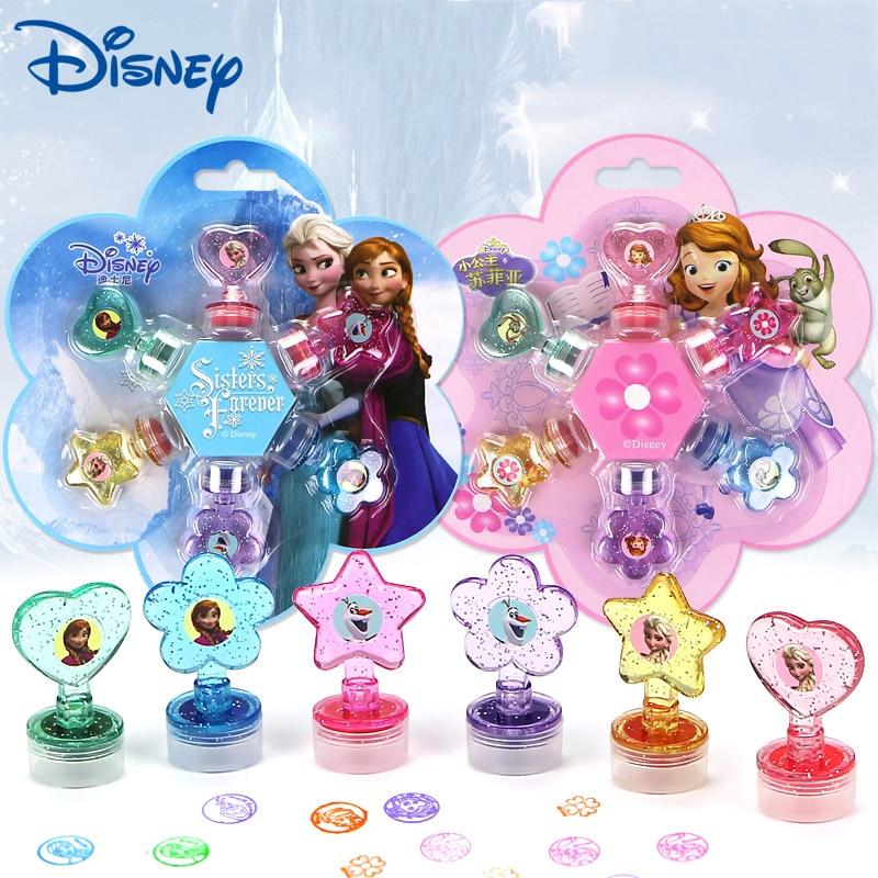 6 Pcs/lot Cartoon Girls Frozen Anna Elsa Seal Toy Disney Seal Teacher Encourages Prize Children's Inkpad