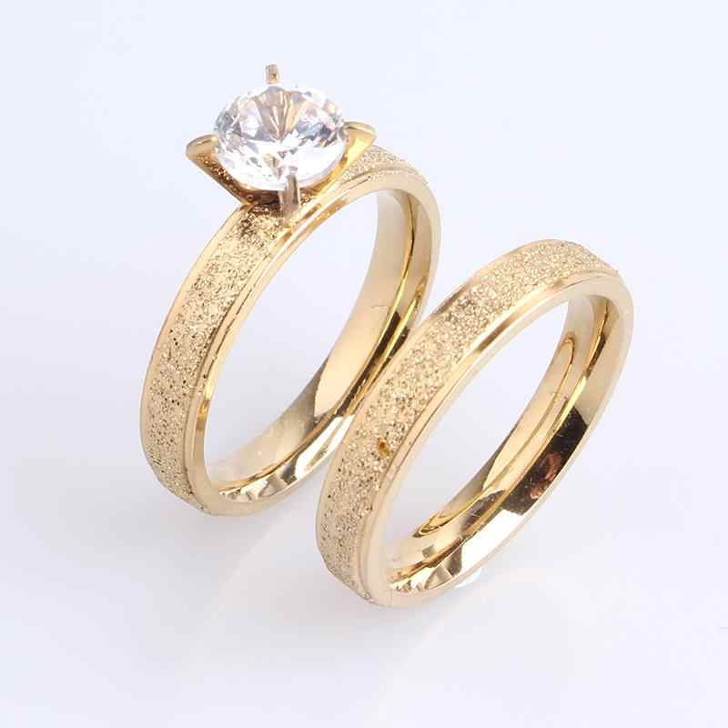 free shipping 4mm lovers gold color Scrub Zircon 316l Stainless Steel Wedding rings for men women wholesale