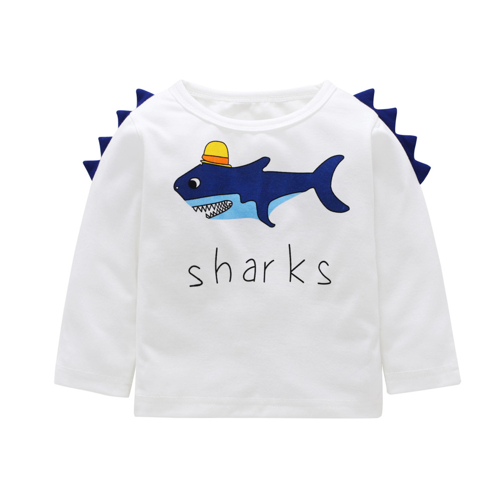 449aab5eadeaf7 Cute dinosaur Shark Print Children t shirt Toddler Kids Baby Boy Girl  Letter Shark Long Sleeve T shirt Tops Clothes Outfit #YL5-in T-Shirts from  Mother ...