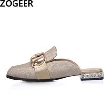 Zapatillas de tacón bajo informales para mujer, calzado de punta cerrada, sin cordones, talla grande 48, 2020