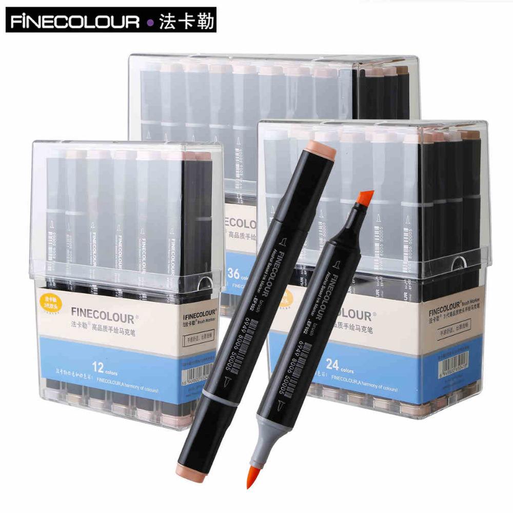 FINECOLOUR Art Markers Set Skin Tones 24 36 Colors Dual Tip Marker Alcohol Based Markers Graffiti For Manga Design Art Supplier