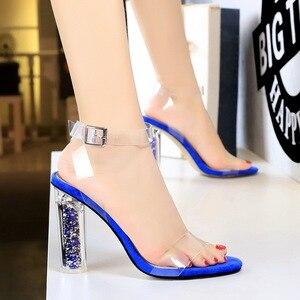 Image 5 - 2020 Plus Size 43 Women Classic 11cm High Heels Fetish Yellow Blue Sandals Transparent Summer Shoes Clear Green Sandles Pumps