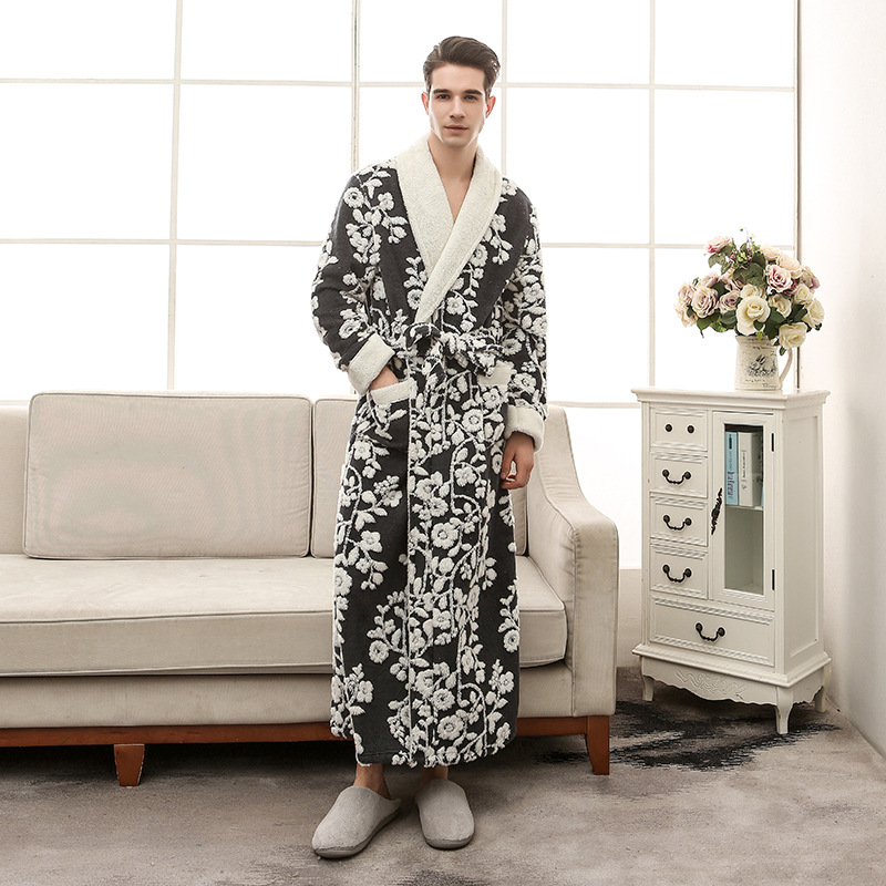 Thick Cation Flannel Mens Robes Long 2018 Winter Bathrobes For Men  Robe For Men Winter 1301