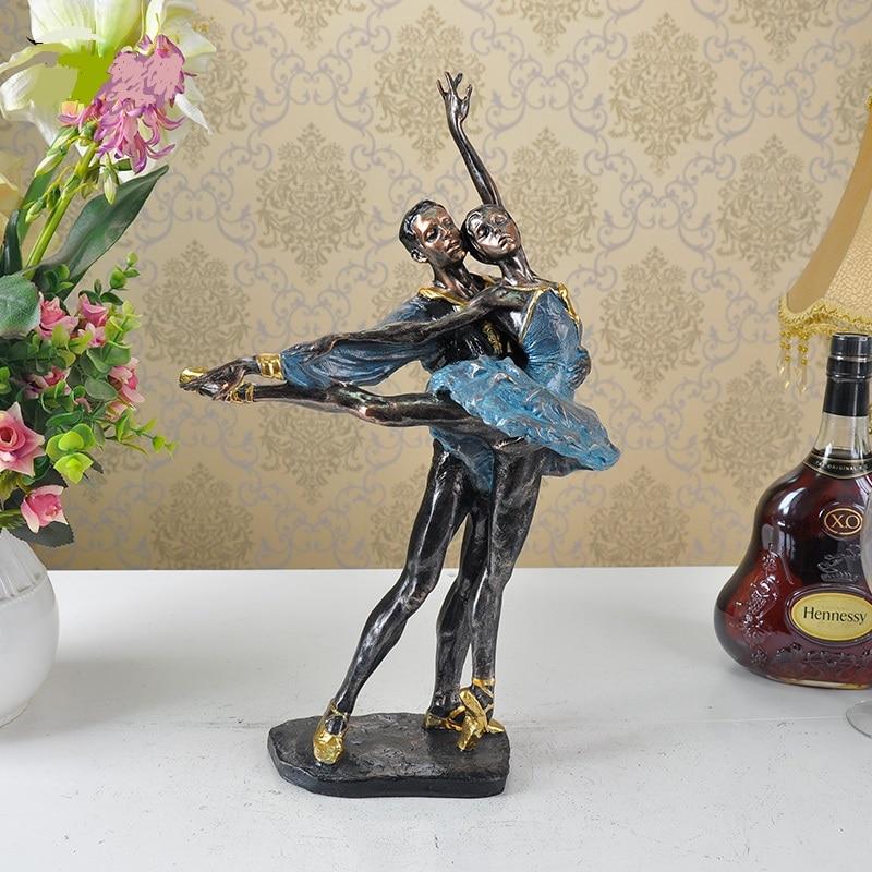 Vintage Ballet Dancer Lovers Sculpture Handmade Resin Ballerina Statue Decoration Art And Craft Present Ornament Furnishing