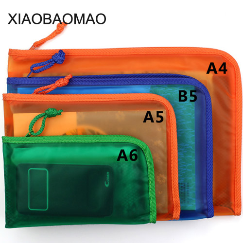 5 Pcs High Quality Waterproof Clear PVC B5 A5 A6 File Document File Bag For Bill Invoice Note File Supplies
