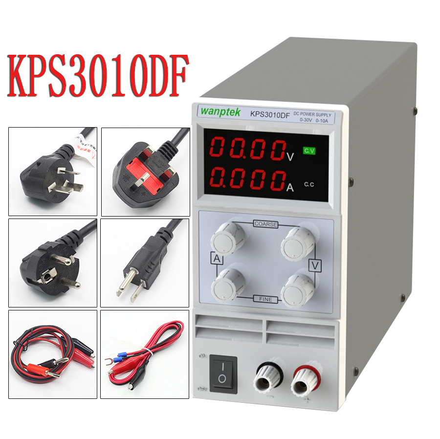 KPS3010DF 4 Digits LED DC Power Supply 0-30V/0-10A 110V-230V 0.1V/0.001A Digital Adjustable rps3020d 2 digital dc power adjustable power 30v 20a power supply linear power notebook maintenance