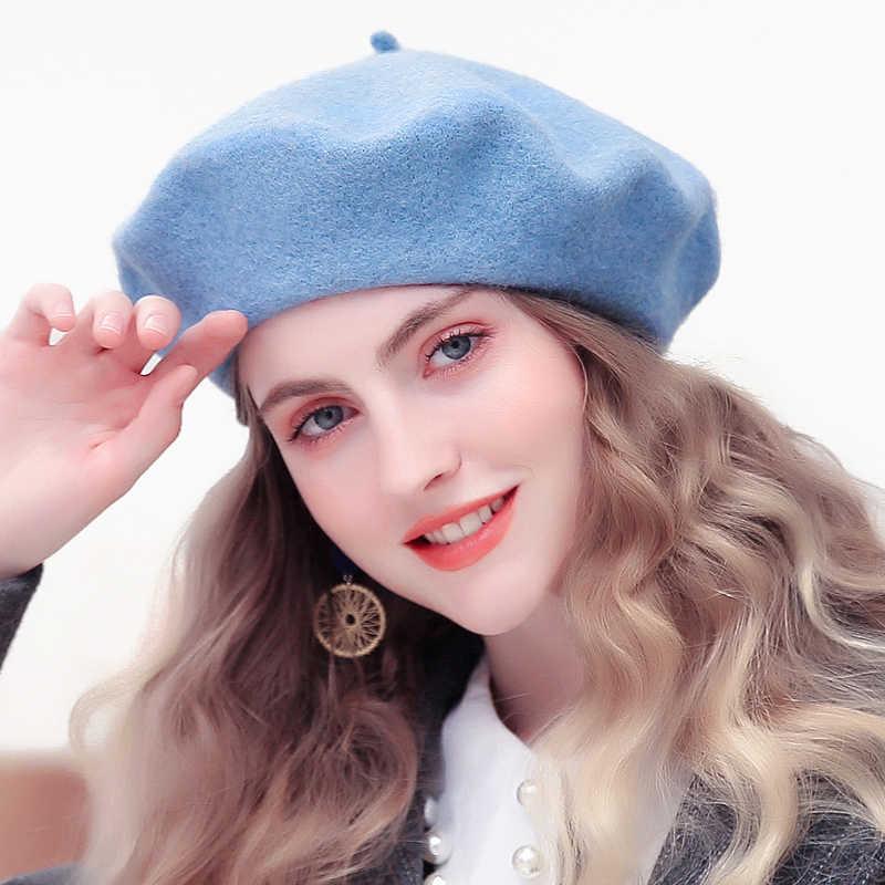 Inverno Mulheres Boina Moda Artista Francês Meninas Cor Sólida Cap Boinas de Feltro de Lã Outono Chapéus de Inverno Para As Mulheres Planas 2019