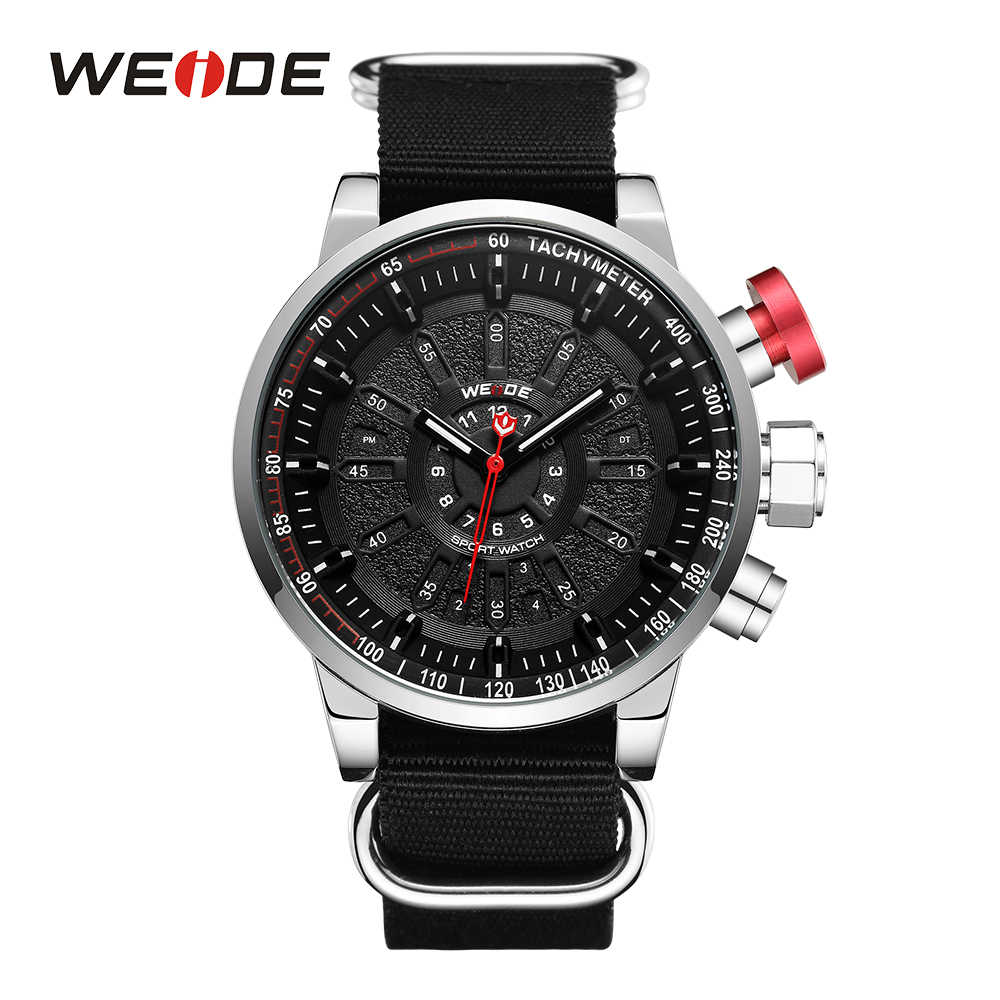 WEIDE Sports Men Military Black Nylon Strap dual led analog display movement Male Clock Black Wrist watches Relogio Masculino