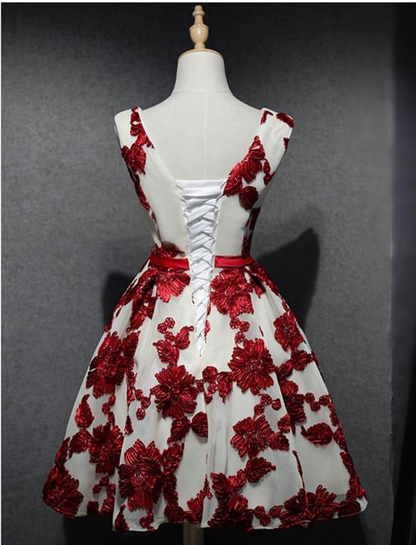 Hermosas Flores De Encaje Vestidos De Coctel Cortos 2017