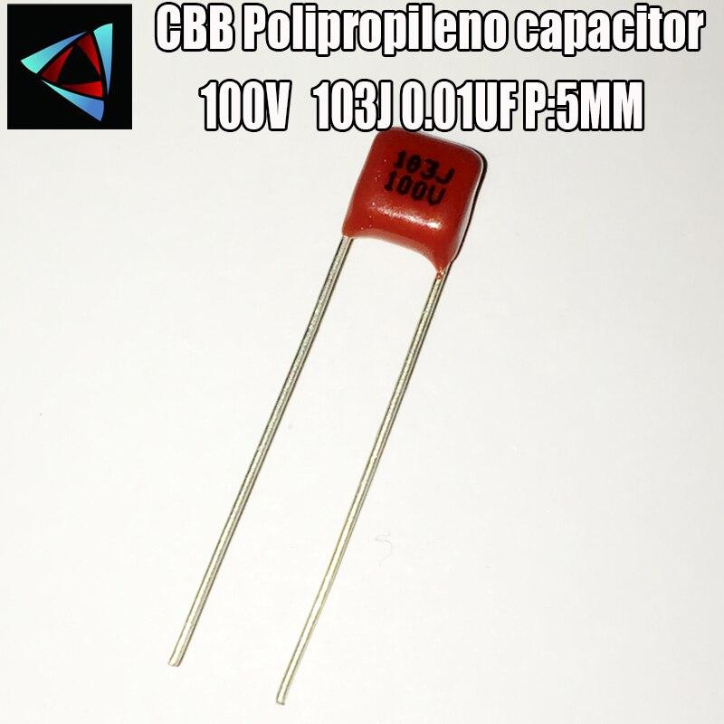 50pcs 100V 103J 0.01UF Pitch 5mm CBB Filme De Polipropileno Capacitor
