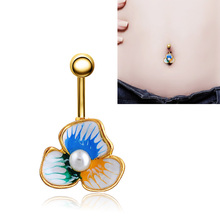 Luxury Enamel Esmaltes Flower Belly Button Ring Body Jewelry Navel Ring Pircing Ombligo Percing Valentine's Day gift Sexy