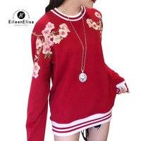 Красный Свитшот 2018 Для женщин Осень свитер с длинными рукавами пуловер мода цветочной вышивкой Женские кофты
