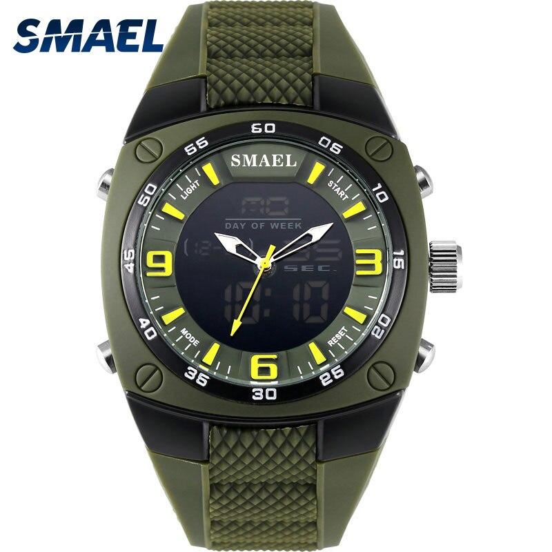 SMAEL montre pour homme Militaire 2017 Alliage Grand Cadran Sport montre résistante à l'eau de Plongée Numérique Montre-Bracelet de Quartz 1008 Hommes montres Armée