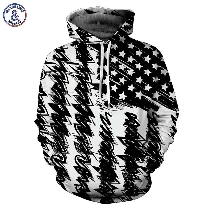Mr.1991INC Neue Mode Mit Kapuze Sweatshirt Männer/frauen Mit Kapuze Hoodies 3d Print Schwarz Weiß USA Flagge Unisex Pullover