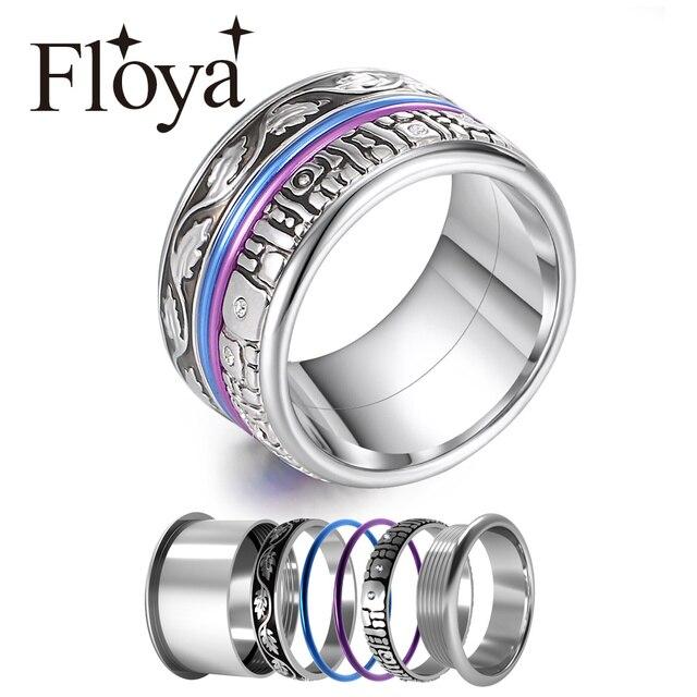 Floya エタニティリング女性ヴィンテージのウェディングバンド交換アクセサリー指輪ステンレス鋼リング anillos mujer ringen