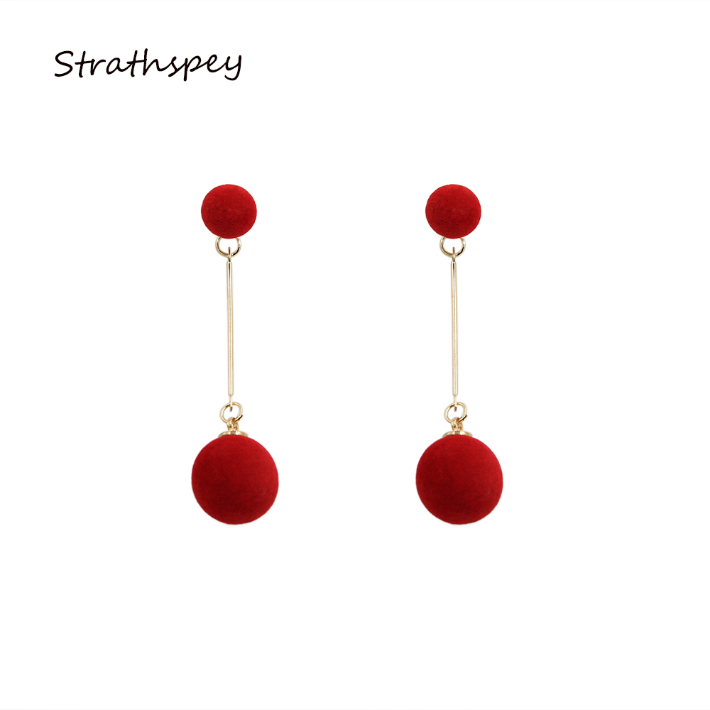 2017 Trendy New Fashion Beautiful Double Ball Woolen Drop Earrings Red Grey Black Color For Girls Jewelry Gift