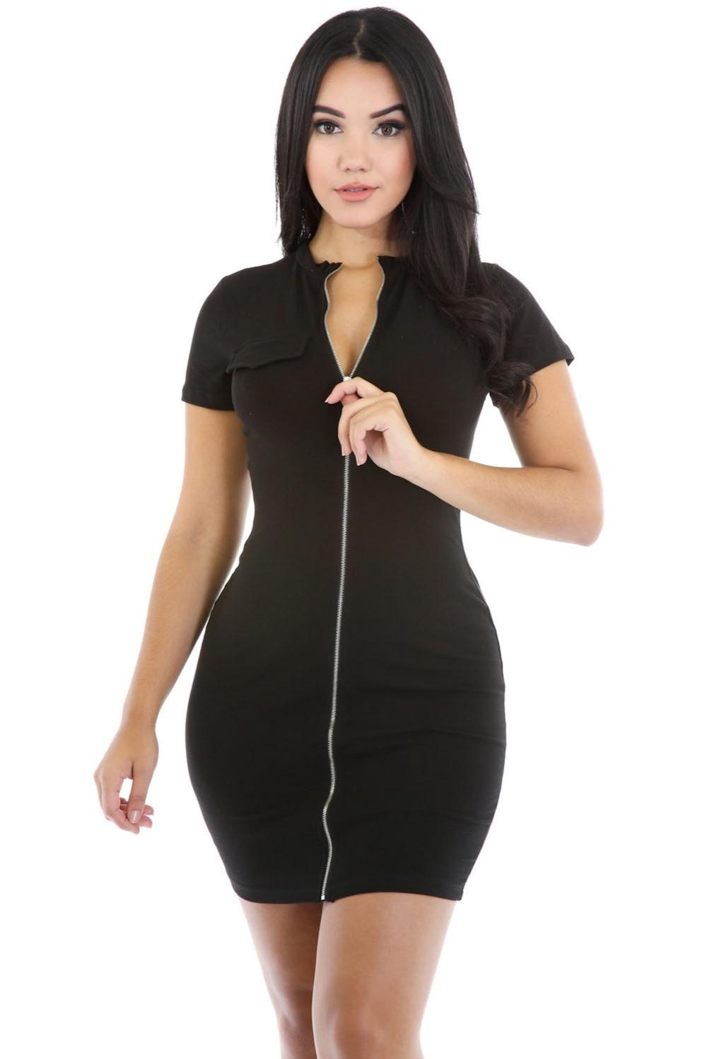 robe femme ete summer front zipper bodycon dress women. Black Bedroom Furniture Sets. Home Design Ideas