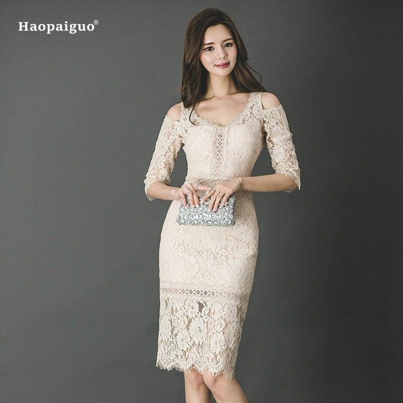 Women Solid Pencil Dress Summer Beige Half Sleeve V-neck Knee-length Elegant Office Lace Dress Vintage Club Dresses Moda Mujer
