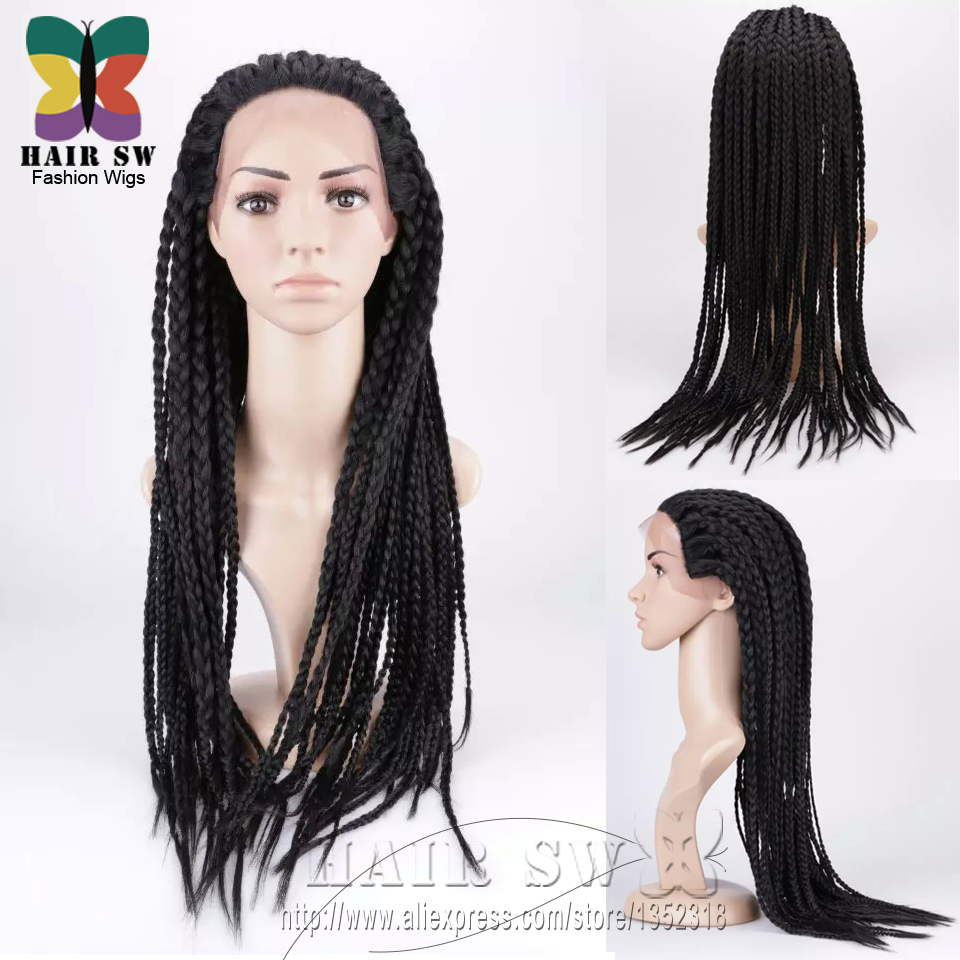 Hand Braided wig Lace Front Edge african american Box Braids Senegal ...