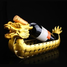 Creative Golden Dragon Boat Decoration Craft Red Wine Rack Bottle Display Europe Drink Holder Figurine