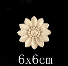 D:6CM  T:0.7CM Wood Stick Decal flowers carving furniture door trim patch circular decals