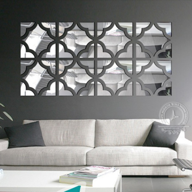 4 Squares / Set Big Size 3D Acrylic Mirror Surface Wall Sticker Gold Silver  Room Decorative
