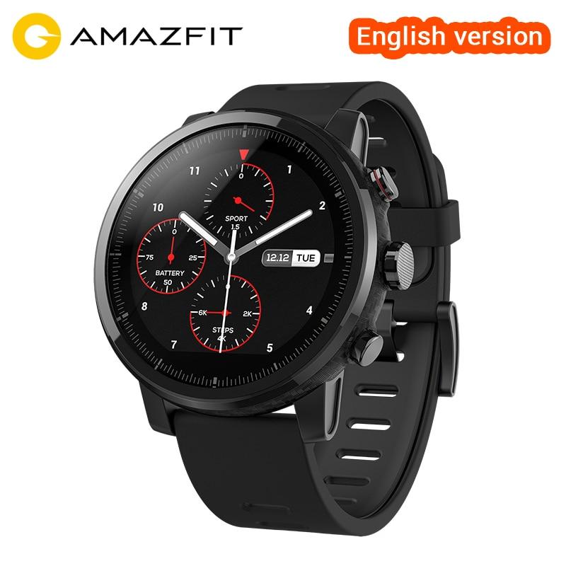 English/Russian/ Spanish AMAZFIT Smart Watch 2 Bluetooth GPS 11 Kinds of Sports Modes 5ATM Waterproof Smartwatch