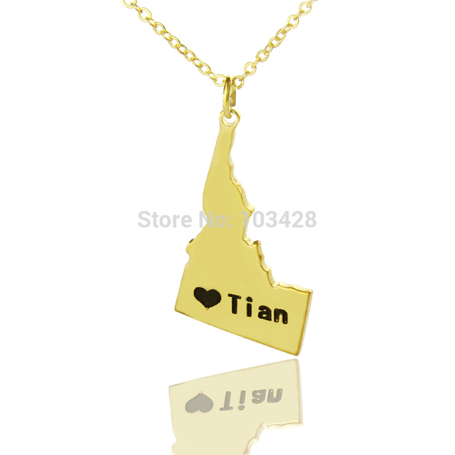 HD Decor Images » Custom USA Gold Color State Necklaces The Idaho State Shaped DIY     Custom USA Gold Color State Necklaces The Idaho State Shaped DIY Necklaces  State Love Map Necklace