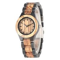 Brown & Black Wooden Watch Lady Quartz Movement High Quality Women Natural Wood Wristwatch Bracelet Clasp Top Gifts Item reloj