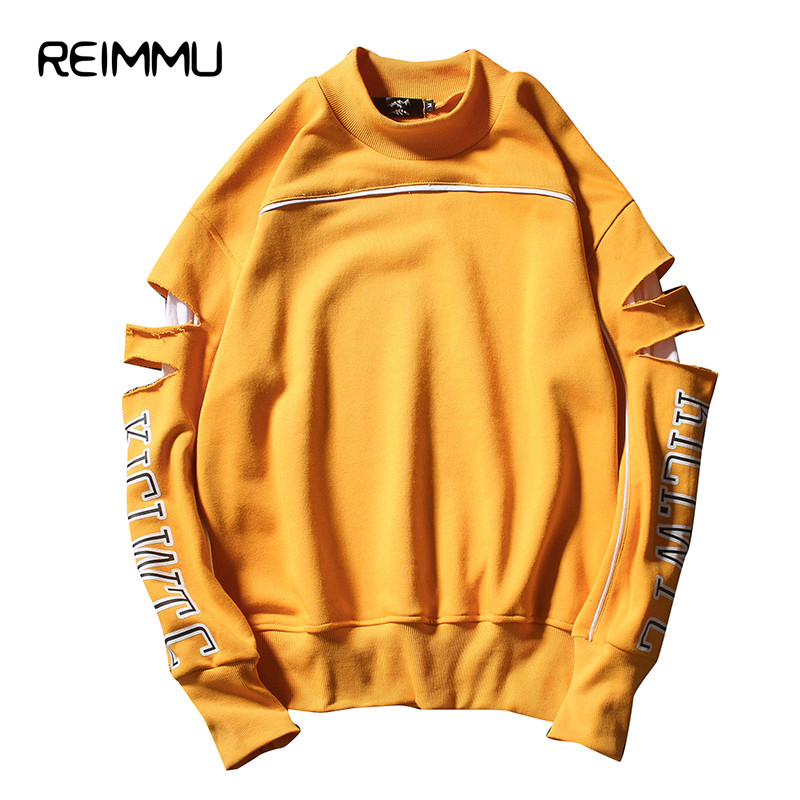 2017 New Arrival Ripped Sleeved Mens Hoodie Sweatshirt Famous Brand Unisex Oversized New Streetwear 5XL Hoodies Men Hot Sale