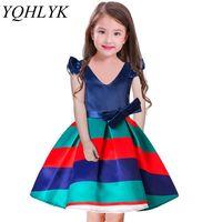 New Fashion Summer Girls Dress 2018 Children Striped High End V Neck Bowknot Princess Dresses Elegant