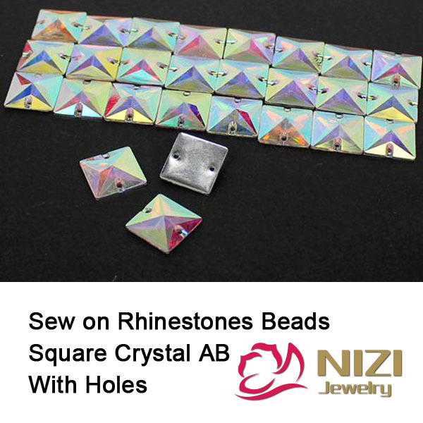 Crystal Beads 16mm 22mm Square Flatback Resin Beads High Shine DIY Beads For Garment Accessory Sew On Crystal Beads crystal beads 12mm 16mm 22mm sew on triangle glass beads flatback sewing diy beads with 3 holes for garment
