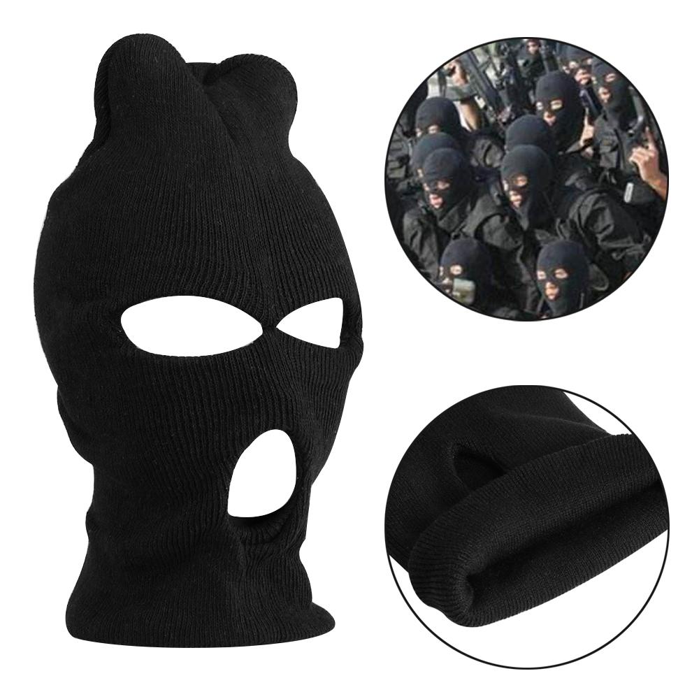 3 Hole Cool Warm Knitted Face Mask Balaclava Hat Ski Army Stocking Winter  Winte Cap Beanie Hood 908c38bd176b