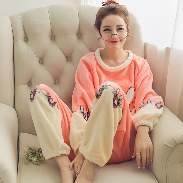 2539daff5e Rabbit Style Autumn Winter Womens Pajama Sets Soft Thick Flannel Cartoon  All In One Long Sleeve