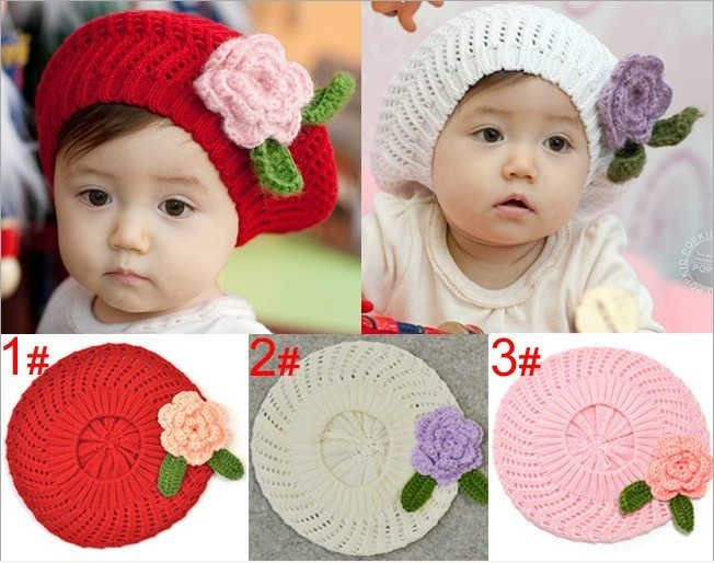 Baby Girls Crochet Flower Hat Cap Hand Knitted Baby Beret Hat Girls Flower  Caps 10pcs lot Free Shipping-in Hats   Caps from Mother   Kids on  Aliexpress.com ... b1a2d723372