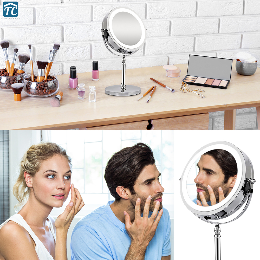 Large 7-Inch Vanity Makeup Mirror with Light Double-Sided 1X 10X Magnifying LED Mirrors Perfect for Bedroom or Bathroom Vanity