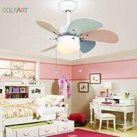Solfart ventilador de teto moderno ventilador de teto sala de crianças led ventilador de teto com luz mudo segurança natural vento colorido fã folha slf2079