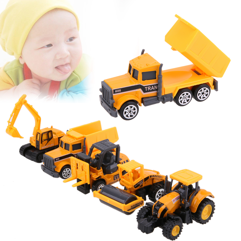 5Pcs Mini Toys Car 1:64 Scale Alloy Pulll Back Car Truck Models Suit Kids Children Baby Playing Toy Gift Set