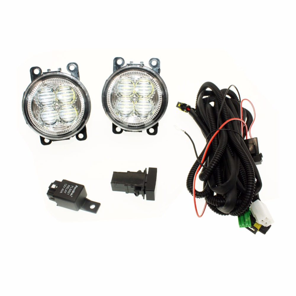 For Subaru Outback 2010-2012 H11 Wiring Harness Sockets Wire Connector Switch + 2 Fog Lights DRL Front Bumper 5D Lens LED Lamp for nissan note e11 mpv 2006 2015 h11 wiring harness sockets wire connector switch 2 fog lights drl front bumper led lamp