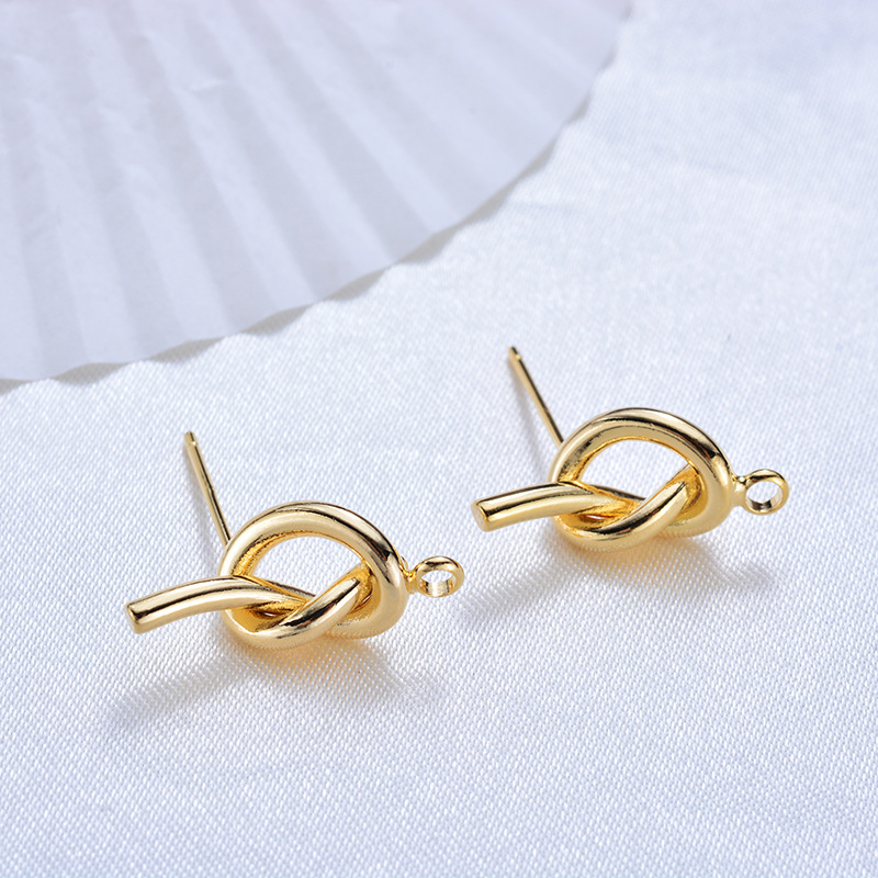 118 6PCS 17 5MM 24K Gold Color Plated Brass Knot Stud Earrings High Quality DIY Jewelry Making Findings in Stud Earrings from Jewelry Accessories