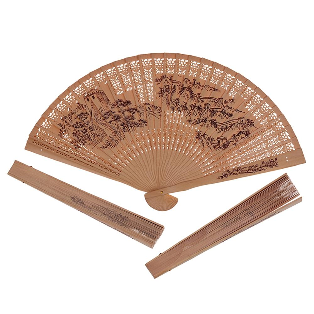 Chinese Style Incense Wood Fan In Gift Box Sandalwood Hollow Lady Folding Fan Wood Carving Printing Antique Craft Fan