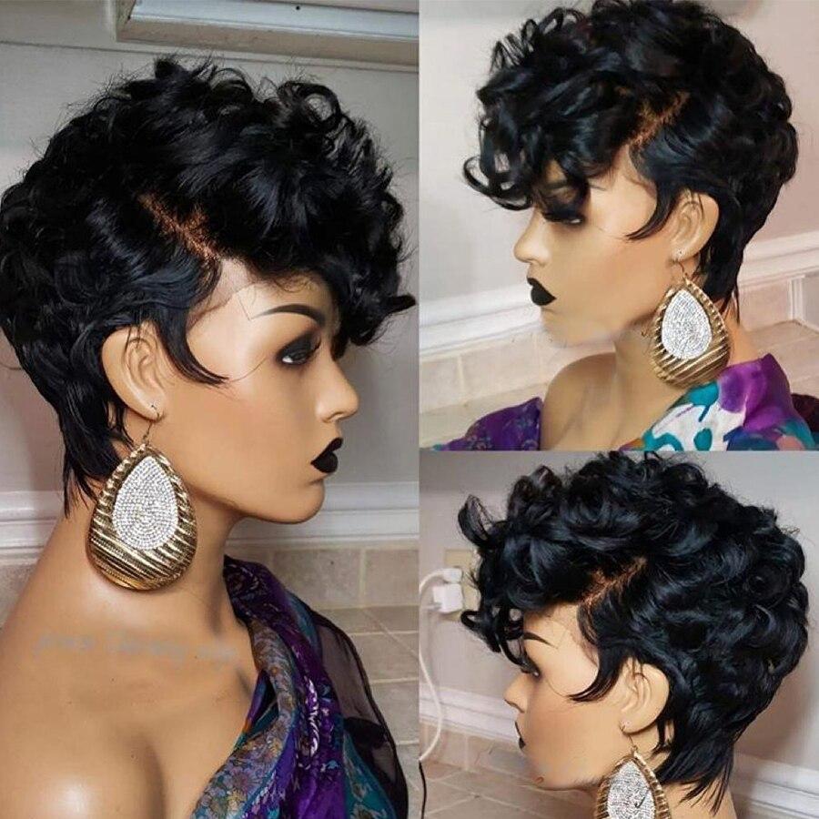 13x6 Remy brésilien court Pixie cheveux humains perruques pour les femmes rebondissantes bouclés sans colle couleur noire (côté frange coupe) 150% densité - 4