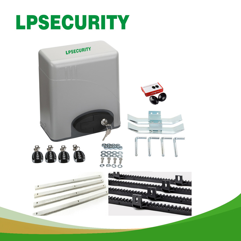 600KGS Sliding access gate motor Auto Close with 2 Transmitters 4m steel racks 1 pair of photocell