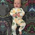 2017 Primavera impressão Abacaxi Jumpsuit Do Bebê Do Algodão Do Bebê Da Menina do Menino Roupa Do Bebê Recém-nascido Macacão Crianças Traje Infantil Cothing BR140