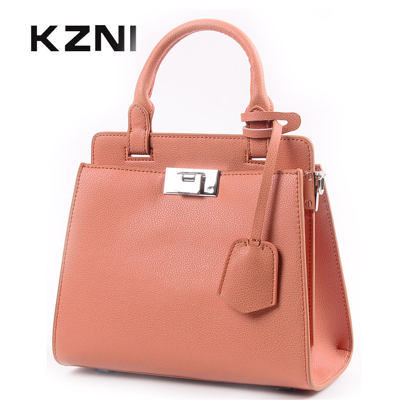 KZNI Genuine Leather Handbag Women Real Leather Tote Bag Female High Quality Cross Shoulder Bags for Girl Bolsos Mujer 9111 genuine leather women bag 2018 summer handbag wrinkle skin female high quality cowhide shoulder crossbody bolsos mujer beach bag