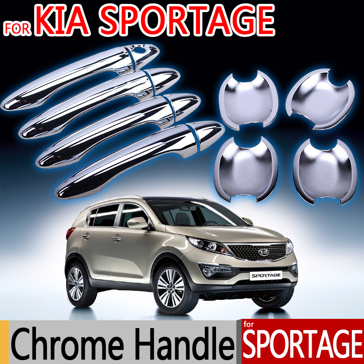 For KIA Sportage Chrome Door Handle Covers Trim Of 4 Door 2010 2011 2012 2013 2014 2015 Accessories Stickers Car Styling
