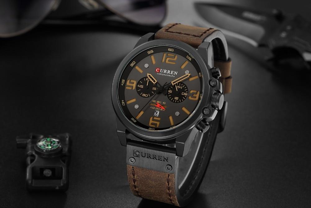CURREN Mens Watches Top Luxury Brand Waterproof Sport Wrist Watch Chronograph Quartz Military Genuine Leather Relogio