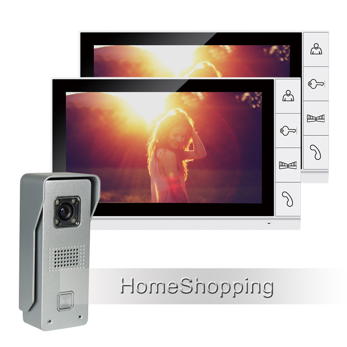 Wired 9 Color Screen Video Door phone Intercom Entry 2 White Monitors + 1 Night Vision Door bell Camera In Stock Free Shipping free shipping new handheld 4 3 inch color tft video door phone doorbell intercom night vision door bell camera 2 screen in stock